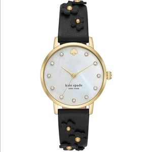Kate Spade Metro Floral Black Leather Watch